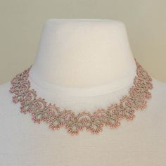 Nana Necklace, sand and pink | The French Needle | French Needlework Kits, Cross Stitch, Embroidery, Sophie Digard