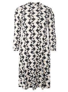 **Tall Black and Stone Geometric Print Swing Dress