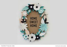 DIY Paper Flower Wreath – Home Sweet Home. Maybe for bedroom room sweet room? Paper Flower Wreaths, Flower Crafts, Diy Flowers, Paper Flowers, Flower Ideas, Flower Diy, Handmade Flowers, Flower Making, Pretty Flowers
