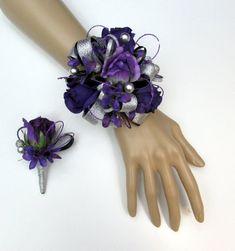 Purple Rose and Silver Wrist Corsage Blue And Purple Flowers, Purple Stuff, Dark Purple, Wrist Corsage Wedding, Prom Flowers, Flower Corsage, October Wedding, Silver Rhinestone, Floral Wedding