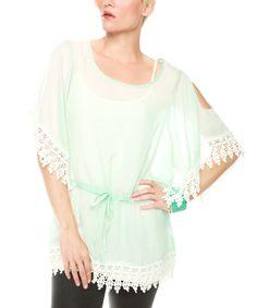 Loving this Mint Sheer Crochet-Trim Tie-Waist Top on #zulily! #zulilyfinds