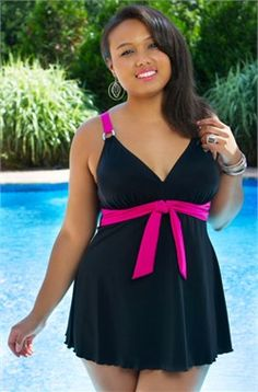 Women's Plus Size Swimwear - Always 4 Me Belize Swimdress #plussizeswimwear #plussize