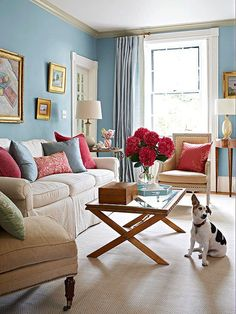Add Fresh Hues To Your Home With A Spring Palette Blue And Pink Living Room