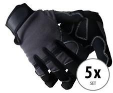5 Paar Profi Rigger Handschuhe mit langen Fingern aus Kunstleder schwarz/grau Montage, Gloves, Leather, Work Gloves, Artificial Leather, Couple, Black, Mittens