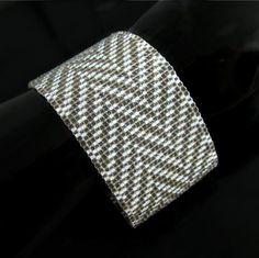 Bead loomed cuff - Taupe and white Herringbone $44.00 #CatsWire