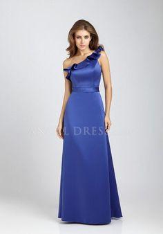 A line One Shoulder Satin Natural Waist Floor Length Sleeveless Bridesmaid Gown