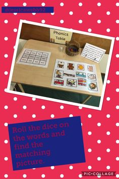 Roll the dice on the words. Read the word it lands on and find the matching picture. Jolly Phonics, Phonics Activities, Reading Activities, Challenge Ideas, Writing Challenge, Phonics Display, After School Care, Continuous Provision, Early Reading