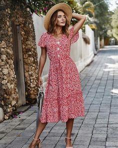 Boho Summer Dresses, Boho Fashion Summer, White Dress Summer, Summer Dresses For Women, Look Fashion, Beach Dresses, Dress Black, Boho Dress, Red Floral Dress