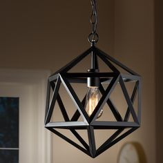 Baxton Studio Ginessa Modern and Contemporary Black Metal Geometric Pendant Light Contemporary Bathroom Lighting, Contemporary Light Fixtures, Contemporary Pendant Lights, Pendant Lighting, Metal Pendant Lights, Geometric Pendant Light, Black Pendant Light, Sala Vintage, Lampe Art Deco