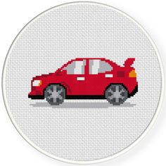 Charts Club Members Only: Red Car Cross Stitch Pattern