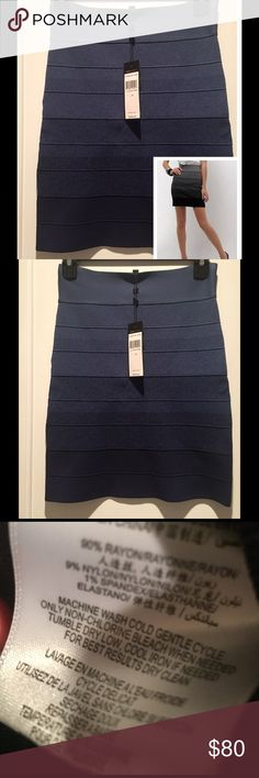 BCBG Max Azria Navy Ombre Skirt Navy/combo Ombre power skirt with elasticized waistband. Cascading tones contour your shape beautifully in this flattering skirt. BCBGMaxAzria Skirts