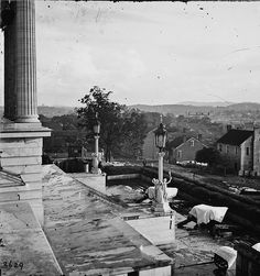 The 1864 G. N. Barnard stereograph  is titled [Nashville, Tenn. Steps of the Capitol with covered guns; vista of the city beyond] . The Battle of Nashville was the last large scale land battle in the western theater of the American Civil War...