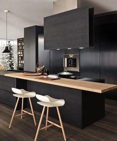 Cuisine noire et blanche Bois Design