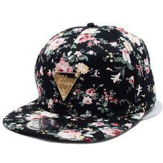 Hot Spring Unisex Snapback Flat Peaked Adjustable Baseball Cap Hip Hop Hat Cool Floral Flower Hat Handsome Men Women