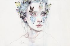 Agnes Cecile is the self taught artist behind this wonderful collection of watercolor portrait paintings. As well as watercolor she also uses acrylic, pen, ink and some Art And Illustration, Watercolor Portrait Painting, Watercolor Paintings, Portrait Paintings, Watercolors, Art Paintings, Pink Watercolor, Silvia Pelissero, Agnes Cecile