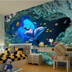 Custom wallpaper foto 3D de pared papel tapiz salón de TV fondo decoración de paredes underwater world 3D papel tapiz mural
