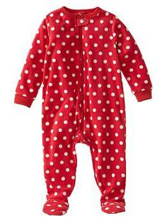 Dot fleece footed sleep one-piece