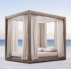 """Overall: 68""""W x 88""""D x 78""""H Seat: 6¾""""H; 14¾""""H (with cushion) Costa Canopy Daybed"""