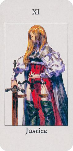 Justice is a Major Arcana Tarot card, numbered either VIII or XI, depending on the deck. This card is used in game playing as well as in divination.  Justice (virtue), accompanies two of the other cardinal virtues in the Major Arcana: temperance and strength.
