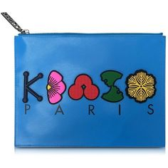 Kenzo Handbags Multicolor Leather Pouch (6 725 UAH) ❤ liked on Polyvore featuring bags, handbags, blue, floral handbags, leather handbags, blue leather purse, handbags purses and leather man bags