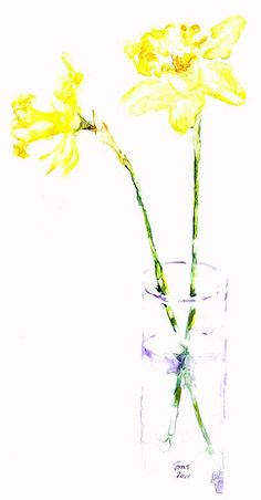 daffodils in vase by loveitaly, via Flickr