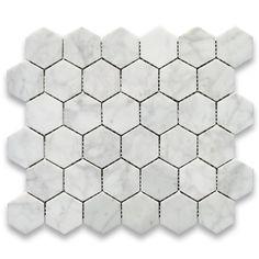 Carrara White Italian Carrera Marble Hexagon Mosaic Tile 2 inch Polished - - AmazonSmile