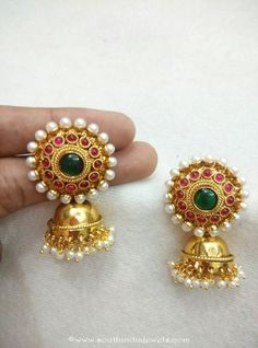 Like to won a beautiful jhumkas? Here are 19 super pretty models to consider before you get your first gold jhumka right! Coral Jewelry, India Jewelry, Temple Jewellery, Pendant Jewelry, Jewellery Earrings, Bar Earrings, Gold Pendant, Jhumka Designs, Gold Earrings Designs