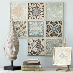 use tiles and cover with scrapbook paper and modge podge or use Dollar store frames - way cheaper than Ballard Designs