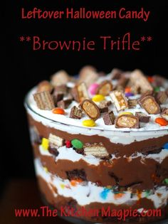 A gorgeous, mind blowing brownie trifle recipe using leftover Halloween candy! You have to see it to believe it!