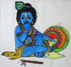 """Lord Krishna, in his """"Bal Gopal"""" form, was famous for stealing homemade butter from the neighbors. As such, this is one of the most popular artists' impressions of the Lord. Hence, I decided to adapt this design into a glass painting."""