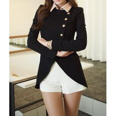Solid Color Single-Breasted Ladylike Style Long Sleeves Irregular Women's Coat, BLACK, ONE SIZE in Blazers   DressLily.com