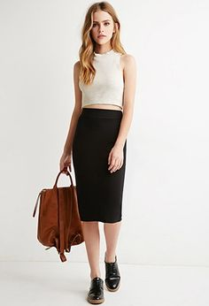 Classic Knit Pencil Skirt | Forever 21 - 2000141013