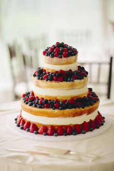 Three-Tier Fruit Cake--use local, seasonal berries for summer wedding Need this for my wedding cake, naked wedding cake, add some fresh flowers for decoration? Bolos Naked Cake, Naked Cakes, Amazing Wedding Cakes, Amazing Cakes, Bolo Nacked, Décoration Candy Bar, Naked Wedding Cake, Wedding Cupcakes, Wedding Cakes With Fruit