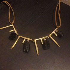 """Natalie Frigo Icicles and Bricks Necklace Brass with black tourmaline on ultr suede. Size 2""""drop by 6"""" across. Length 16"""" - 24"""". Hand Made in NYC. For the truly artistic type with edgy sexy style. Natalie Frigo Jewelry Necklaces"""