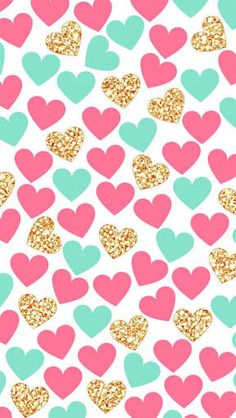 Pink and turquoise heart graphic pattern fundos coloridos, papeis de parede para iphone, whatsapp