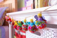 Raising up Rubies: pompom fairy garland ♥