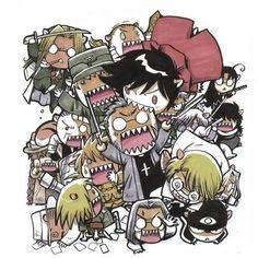 Chibi fanart of Hellsing Hellsing Ultimate Anime, Hellsing Alucard, Hellsing Cosplay, Rip Van Winkle, Nerd Outfits, The Blues Brothers, Manga Comics, Dark Horse, Anime Manga