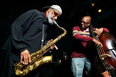 """didierleclair: """" JAMMING WITH A LEGEND… Christian McBride (on bass) jamming with Sonny Rollins (on sax) """""""