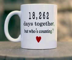 Wedding Anniversary mug Anniversary gift 18262 Days Together But Whose Counting funny mug Golden anniversary mug 50th Wedding Anniversary Wishes, Wedding Anniversary Quotes, 50 Wedding Anniversary Gifts, Anniversary Parties, Anniversary Scrapbook, Wedding Website Examples, Inexpensive Wedding Venues, Romantic Gifts, Aniversary Ideas