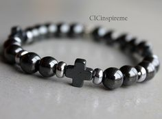 Men's Hematite Cross Bracelet Father's Day Gift by CICinspireme #fathersdaygift $27.00