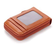 Tan Colour PU Wallet-Cardholder with Zipper
