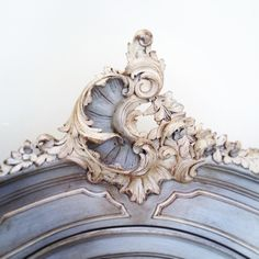 Beautiful Rococo crest / antique French armoire / bespoke colours & distressing for client / French painted furniture / Frenchfinds.co.uk