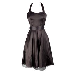 Cute Black Satin Halterneck Dress. Elegant and beautiful, perfect for the holiday season. Wash Separately, 30C Machine wash Cold, Do Not Bleach, Cool Iron