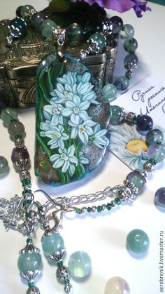Купить Кулон ручной работы с росписью Пушкиния - темно-бирюзовый, голубой, зеленый, массивное украшение