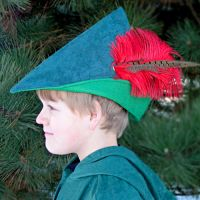 Robin Hood Hat - Forest Green with Red Feather