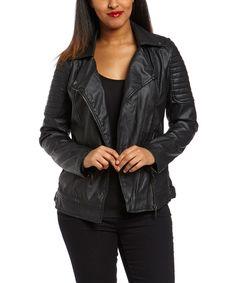Yoki Black Asymmetrical Zip Moto Jacket by Yoki #zulily #zulilyfinds