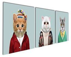 Cat wall decor is an easy way to add an overload of cuteness into your home decor theme. In fact cat wall decor comes in many shapes and forms. You can find all kinds of cat wall art such as cat wall clocks, cat wall hangings, cat wall paintings and so much more.Naturally you will notice that cat wall decor has the potential to work well for any room in your home. Gardenia Art - Series 6 Animal World White Grey and Yellow Cats Canvas Prints Modern Wall Art Paintings Cute