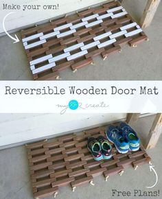 How to make a Reversible Wooden Door Mat, free plans and picture tutorial.