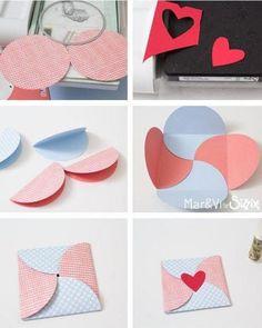 Diy Gift Box, Diy Gifts, Diy Arts And Crafts, Crafts To Make, Envelope Diy, Envelope Tutorial, Heart Envelope, Origami Envelope, Origami Bird