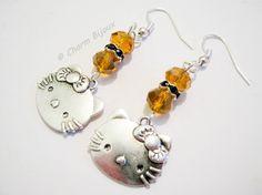 Cercei rhinestone Hello Kitty, by charm.bijoux, 6 Lei
